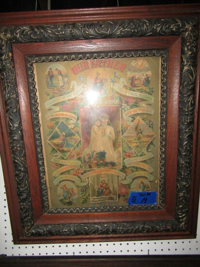 ANTIQUE FRAMED THE LORDS PRAYER 26 X 30