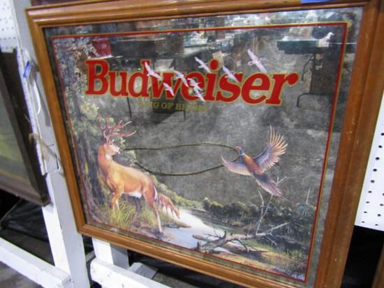 BUDWEISER MIRRORED ADVERTISING 33 X 30