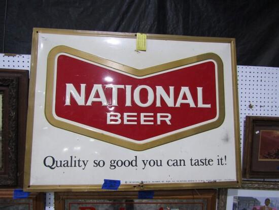 NATIONAL BEER ADVERTISING SIGN METAL 46 X 36