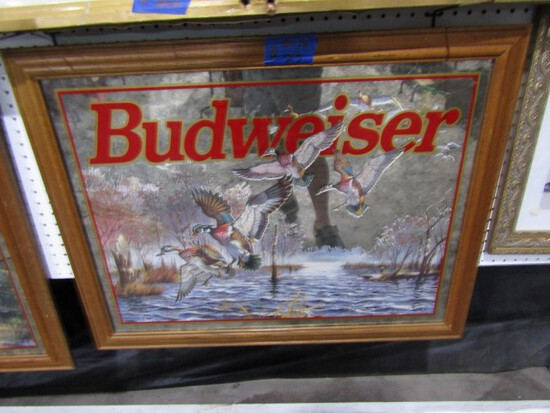 BUDWEISER MIRRORED ADVERTISING WITH WOOD DUCKS 36 X 28