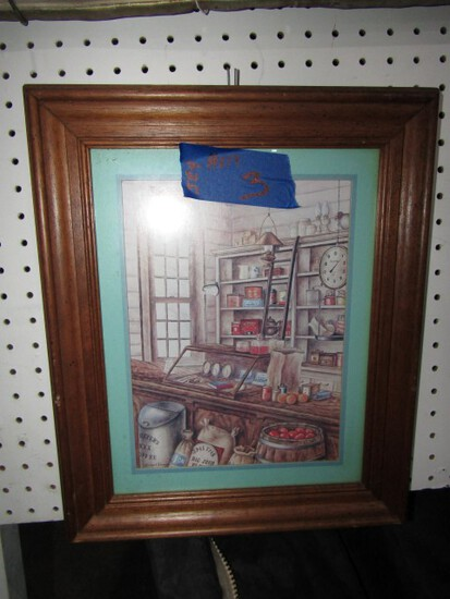FRAMED UNDER GLASS PRINT GENERAL STORE WITH COCA COLA 14 X 17