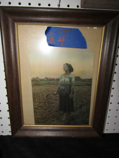 LITHOGRAPH WOMAN WORKING IN FIELD 11 X 14