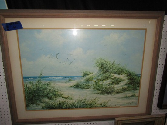 PRINT OF BEACH SCENE BY SUZIE AALUMD FRAMED UNDER GLASS 43 X 32