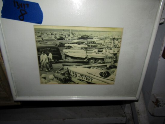 EARLY BLACK AND WHITE PHOTO BOAT RACING BELIEVED TO BE CAMBRIDGE MD CIRCA 1