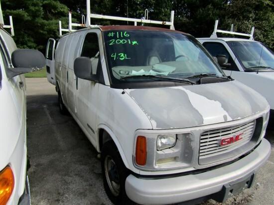 2001 GMC 2500 SAVANA CARGO VAN 4.3 L ENG MILES UNKNOWN BUCKET SEATS TOOL BI