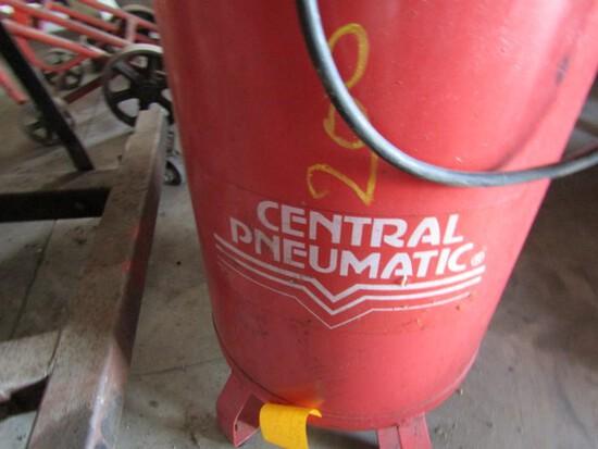 #202 CENTRAL PNEUMATIC AIR COMPRESSOR ADJUST AIR PRESSURE APPROX 20 GAL TAN