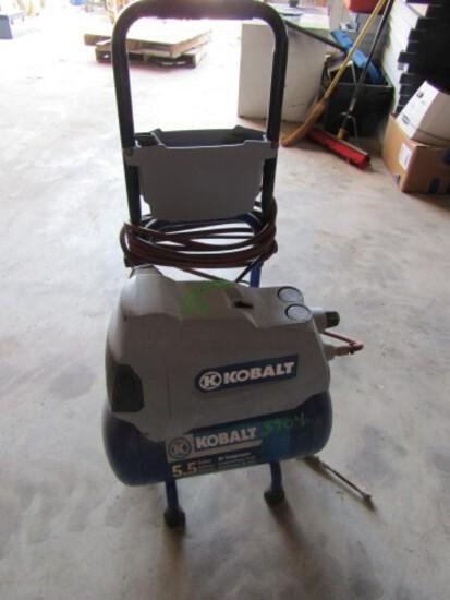 #3904 KOBALT 5.5 GAL AIR COMPRESSOR HOSE CART ADJUST AIR PRESSURE