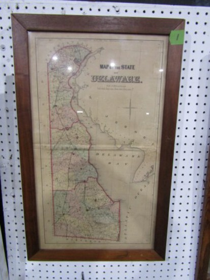 FRAMED MAP OF DELAWARE EARLY UNDER GLASS APPROXIMATELY 30 X 18