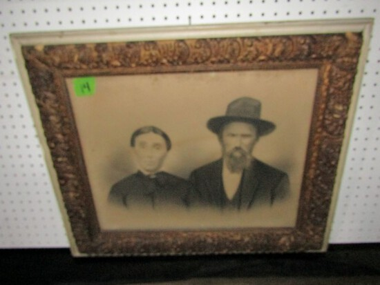 VERY EARLY FRAMED PRINT IN ANTIQUE FRAME 27 X 22
