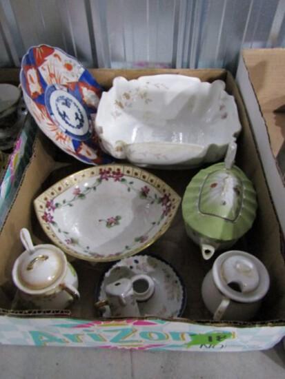 LOT MISC CHINA INCLUDING HONEY POTS TEA POTS SERVING PIECES