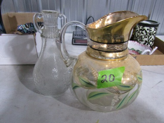 ANTIQUE GOLD PITCHER AND DECANTER