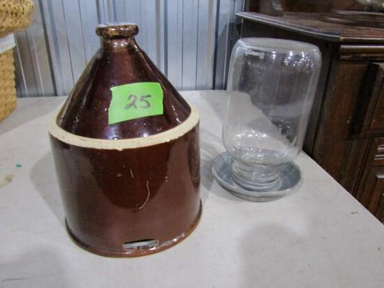 BROWN SALT GLAZE TOP TO BIDDIE WATERER AND CLEAR GLASS BIDDIE WATERER