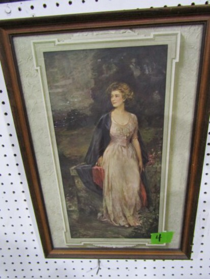 FRAMED PRINT VICTORIAN LADY TITLED THE CROWN OF CREATION BY JW SHEFFIELD AP