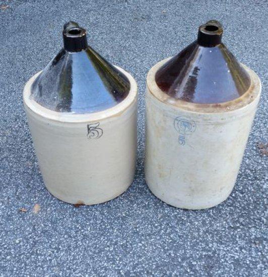 2 Black & White Stoneware Jugs