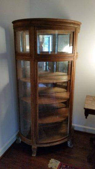 Antique Oak Cylinder Curio Cabinet