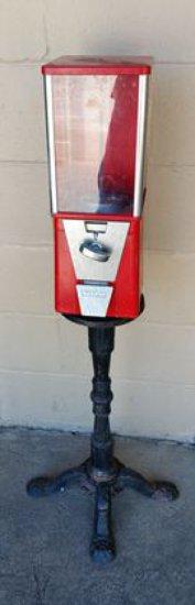Oak Gum Ball Machine on Stand