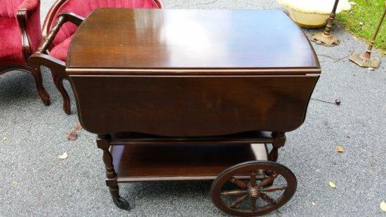 Vintage Walnut Teacart