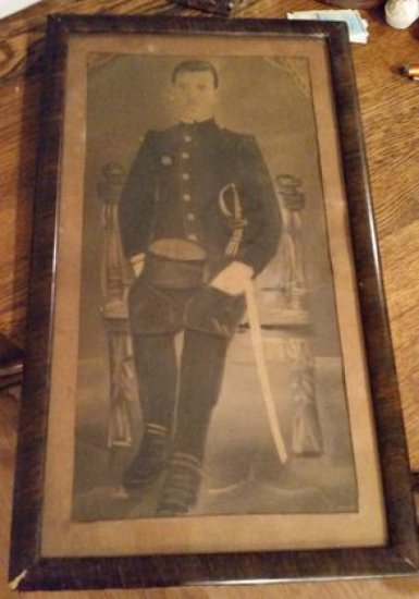 Civil War Era Charcoal Officer Portrait