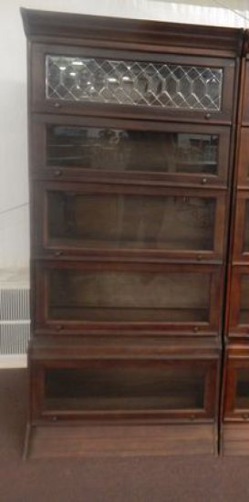 5 Stack Barrister Bookcase w/ Leaded Glass Top