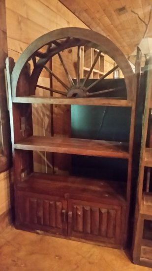 Wagon Wheel Bookshelf with Doors