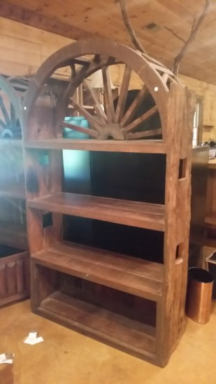 Wagon Wheel and Barnwood Bookshelf
