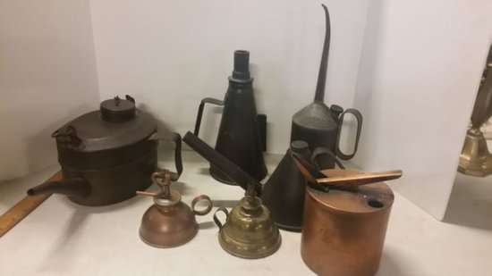 Lot of Antique Oil Cans and Lamps
