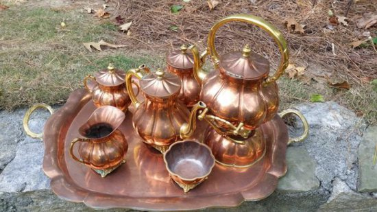 Solid Copper Tea Set with Tray