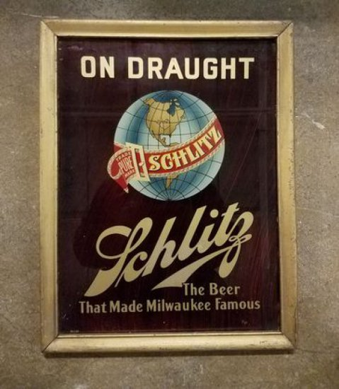 1950'a Shlitz On Draught Sign