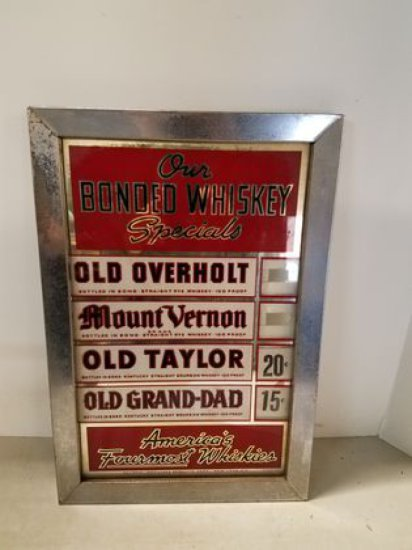 1950s Whiskey Price Sign