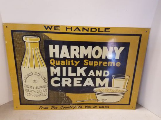 1950s Harmony Milk & Cream Sign