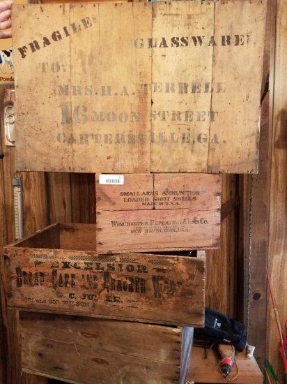 4 Antique Wooden Crates
