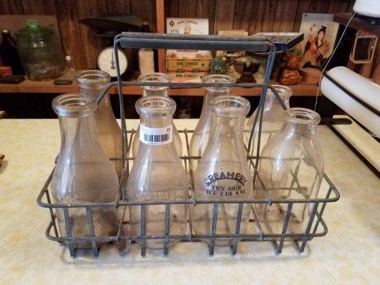 Antique Milk Bottles w/ Metal Carrier