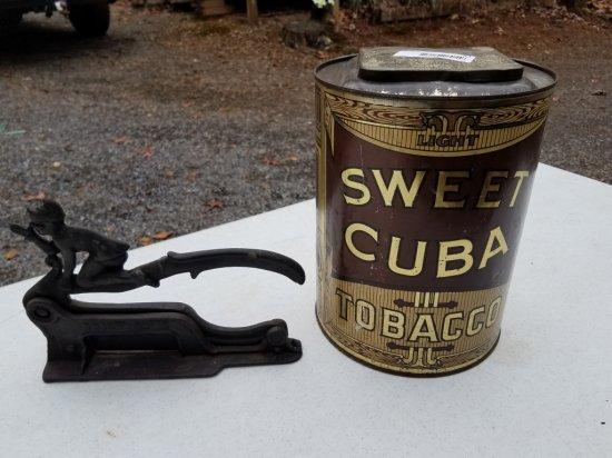 Antique Sweet Fine Cut Cuba Tobacco Can