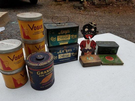 11 Antique Tobacco Cans