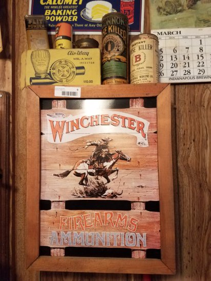 Reproduction Winchester Ammo Case  w/ Antique Tins