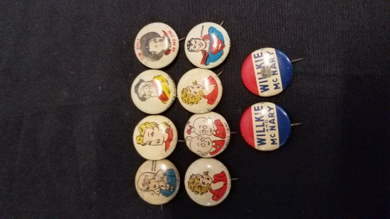 1940s Pep Cereal and Campaign Buttons