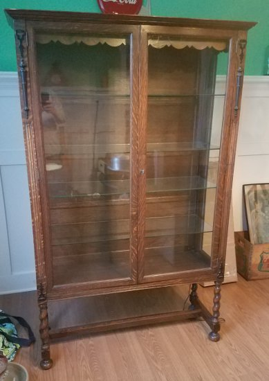 Late 1890s Barley Twist Oak China Cabinet