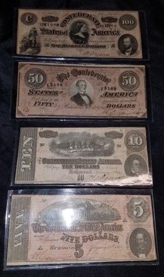 4 Confederate Bills
