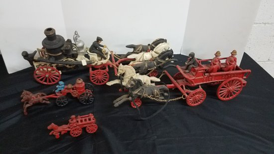 Lot of Vintage Cast Iron Fire Engines