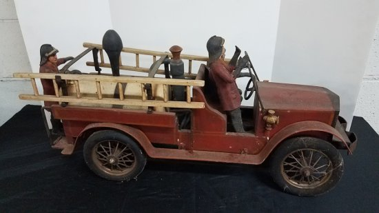 Vintage Reproduction Wood Fire Truck