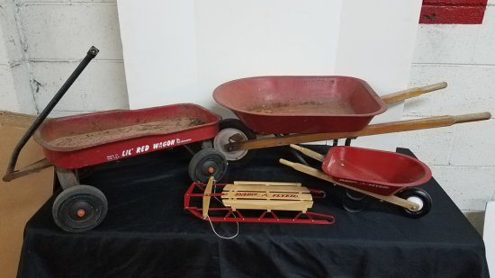 Lot of Child's Wagons and Wheelbarrows