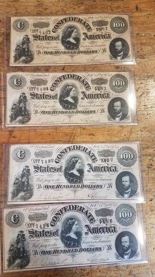 Lot of 4 Confederate $100 Bills