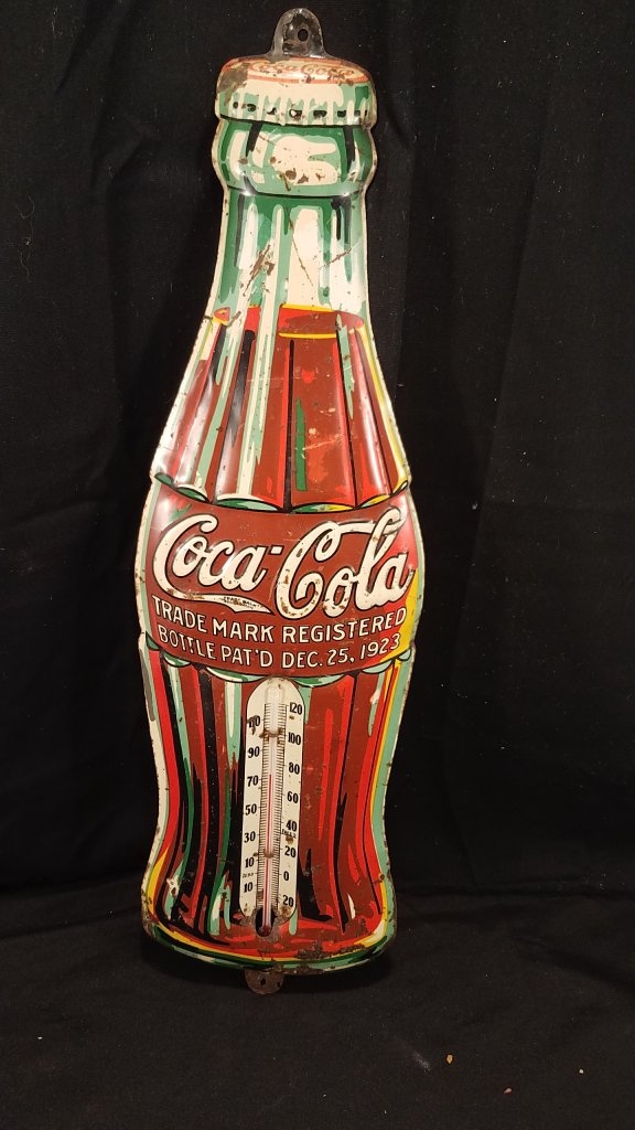 Coca Cola Christmas Bottle.1940 S Coca Cola Christmas Bottle Thermometer Art