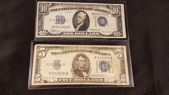 $5 & $10 Silver Certificates