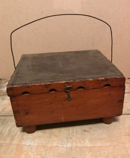 Tin Lined Whale Oil Bed Warmer