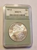 1881 S Morgan Dollar MS63PL