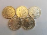 BU Morgan Dollar Lot of 5 coins