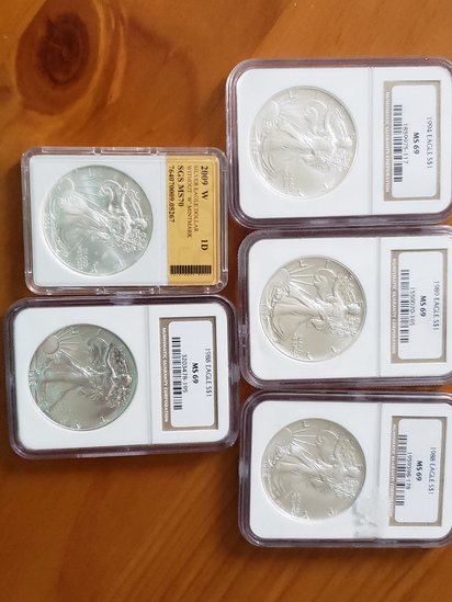 US Silver Eagle Lot of Five Coins All Graded