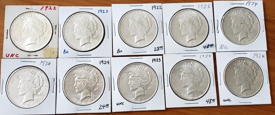 Peace Dollar Lot of Ten Coins