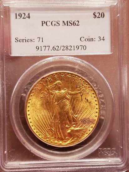 1924 20.00 Saint Gaudens PCGS MS 62